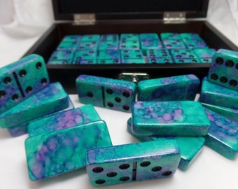 Dominoes 'Charlotte Hornets' Hand Painted 28 Piece Deluxe Professional Size Double Six Domino Set in veneer case with latch, alcohol ink
