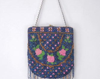 Savoy antique micro bead purse | vintage art deco beaded purse | vintage victorian handbag