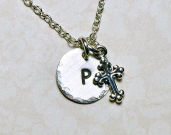 Tiny Fancy Cross Hand Stamped Sterling Silver Petite Initial Charm Necklace - Communion Gift - Christian Jewelry