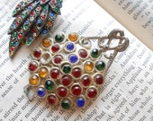 lot of 2 multi colored rhinestone buckle and dress clip - little nemo - pot metal and colorful stones perfect for harvest and repurposing