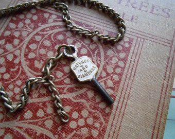 antique watch fob watch chain and watch key - dapper gentlemans jewelry - victorian costume jewelry