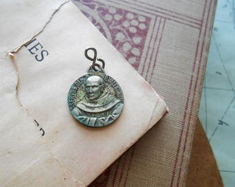 antique verdigris pope valentinus and st anthony french medal  - art nouveau french revillon pendant antique vintage catholic pendant