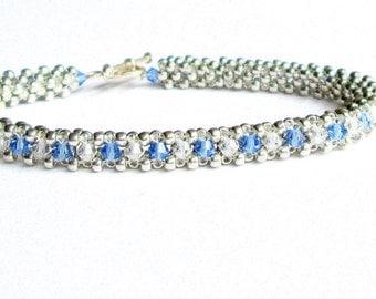 blue crystal bead bracelet swavorski beaded jewelry seed bead bangle sterling silver
