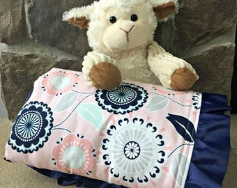 Ruffled Pink and Navy Floral Baby Blanket