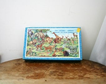 vintage 60s Victory Jungle Animals Jigsaw Puzzle NIB Unused