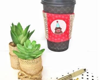 Coffee Cozy Sleeve, Coffee Cup Cozy, Coffee Cup Sleeve, Reusable Cup Cozy, Reusable Coffee Sleeve, Monkey Coffee Sleeve, Monkey Gifts