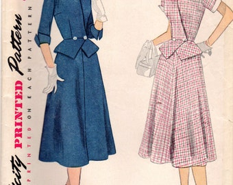 1950s Simplicity 3853 Vintage Sewing Pattern Misses Two Piece Suit, Skirt, Peplum Top, Size 12 Bust 30