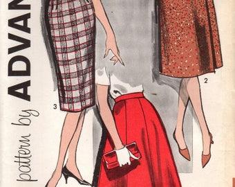 1960s Advance 9629 UNCUT Vintage Sewing Pattern Misses Flared Skirt, Pencil Skirt, Wrap Skirt, Half Size Skirt Size Waist 37-1/2