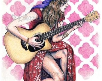 Bohemian Rhapsody PRINT Art Colored Pencil Acoustic Guitar Boho Musician Hippie Woman 3 SIZES