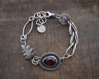 Garnet bracelet, hessonite garnet bracelet, garnet and moonstone bracelet by teresamatheson