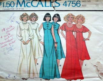 Vintage 70's McCall's 4756 Sewing Pattern, Misses' Empire Dresses, Evening Dress, Size 14, 35 Bust, Retro Disco 1970's Fashion