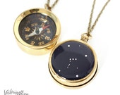 Large Working Compass Necklace with Personalized Constellation, Custom Zodiac Choose your Constellation, Long Brass Chain