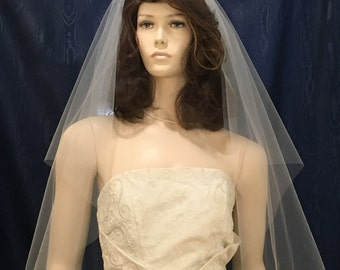 One Tier center gathered Bridal veil  fingertip length with plain cut raw edge