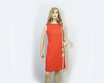 Vintage Dress 70s Mod Orange Shift White Trim Cris Cross Accent M