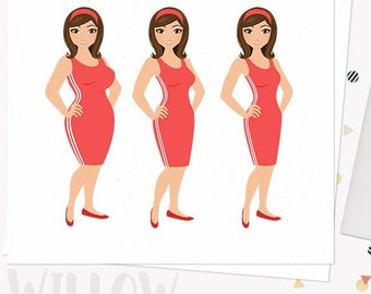 Woman weight loss character clipart, exercise illustration, fitness clipart set with blonde, brunette and auburn hair (Willow  L087)