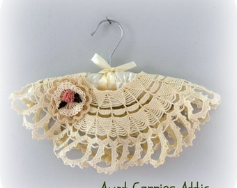 Crochet Poncho for 18 Inch Doll with Hair Decoration very Lacey, Delicate Dressy fits American Girl Dolls