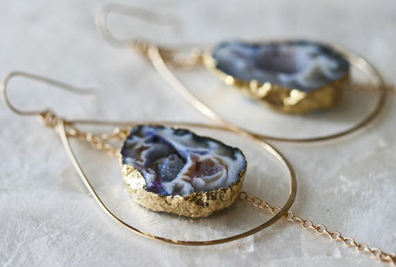 Druzy Earrings, Geode Earrings, Hoop Earrings, Purple Druzy Earrings, Hammered Hoop Earrings, Occo Agate Earrings, Gold Dipped Earrings,