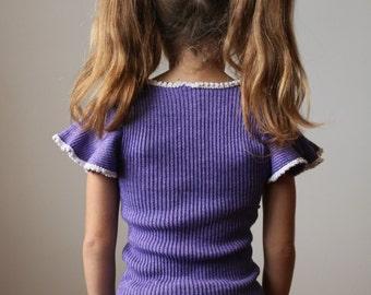 1970s Grape Flutter Sweater >>> Size 7/8
