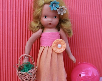 Vintage Storybook Doll - Easter, Pink and Coral with Basket