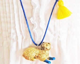 Cat Necklace. Kids Cat Necklace. Tassel Necklace. Gifts for Cat Lovers. Cat Jewelry. Little Cat Lady. Scottish Fold Cat. Boho Necklace.
