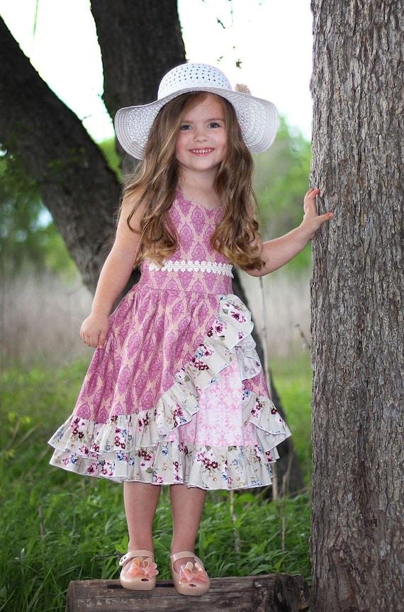 Girls Pink and Gold Shimmer Ruffled Dress - Open Back Pink Dress - Victorian Summer Dress - Rose Easter Dress