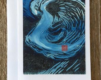 Blue Oyster Shell Notecard hand-made linocut artist print