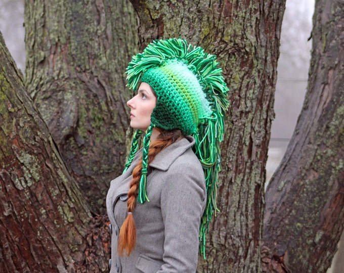 Green Ombre Tones  Mohawk Hat Extreme Long Faux Hair Gradient Color Trapper Earflap Hat Gift for St. Patricks Day!