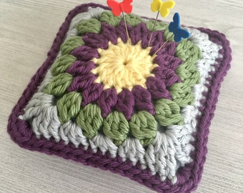 Crochet Pincushion • Granny Square • Crochet Flower Motif • Crochet Block • Mulberry, Yellow, Green & Gray