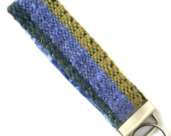 Woven Periwinkle Colorblock Keychain | Handwoven Fancy Gifts for Her | Modern Handwoven Key Fob | Colorful Boho Textile | Gifts under 30