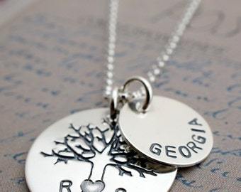 Family Oak Tree Necklace - Personalized Necklace - Tree of Life w/ Initials and Child's Name - Hand Stamped Sterling Silver by EWD