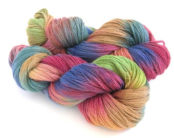 Hand Dyed Yarn Merino Wool Silk Lace Yarn 870 yards - Country Meadow
