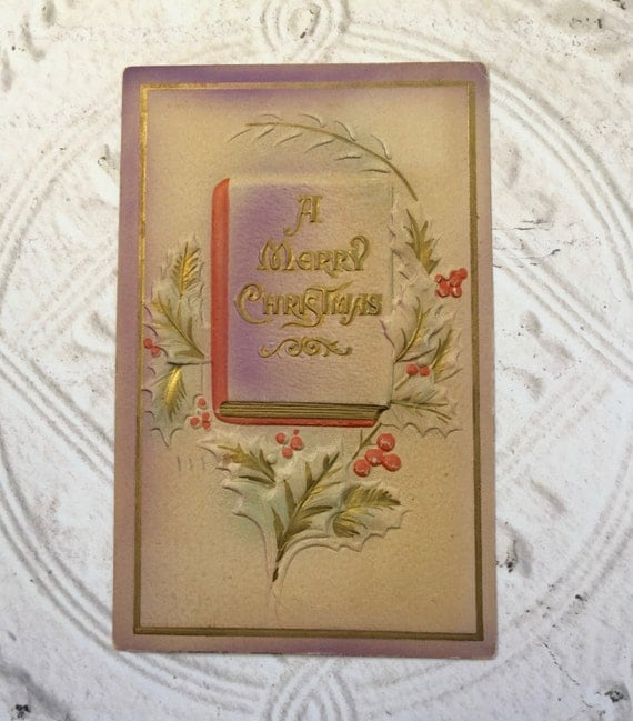 Antique Christmas Postcard Embossed Merry Christmas Paper Ephemera Scrapbooking Craft Supplies 1910's Holly Purple