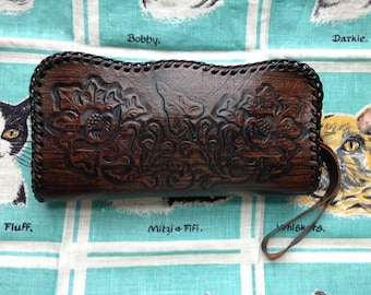 Vintage 60's dark brown tooled leather clutch