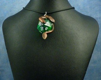 Antique Bronze and Green Dicekeeper Dragon Necklace - D20 Pendant