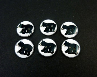 6 Black Bear buttons. Handmade By Me. Animal Buttons for Sewing. Choose Your Size.  Washer and Dryer Safe.