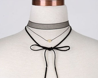 MESH LEATHER BOW choker wrap
