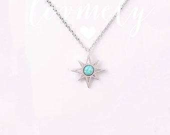 OPAL STONE sunburst necklace