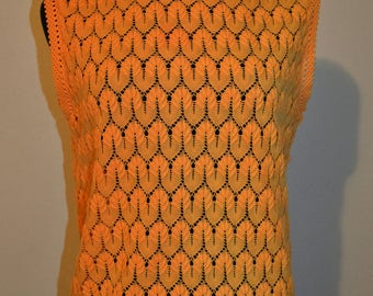 60s 70s parisienne acrylic knitwear Open knit ornamental shell. Cantaloupe neon. Sweater vest trend. shell blouse xLarge novelty knit see