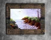 Ocean Inlet Painting ACEO Seascape Landscape Original Art Card Creationarts