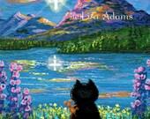 Christian Cross Cat Art Print of Original Painting 4x5 Canvas Creationarts