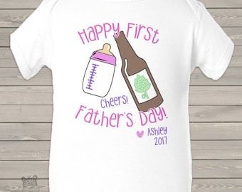 First Fathers Day cheers girl bodysuit- sweet Fathers Day gift  MDF1-104