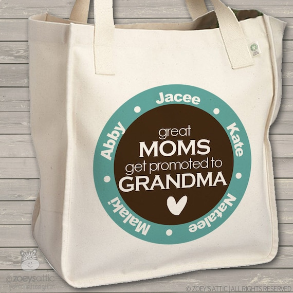Great moms get promoted to grandma tote - personalized bag - perfect for the favorite grandma to be - mother's day gift MMGA1-023-B
