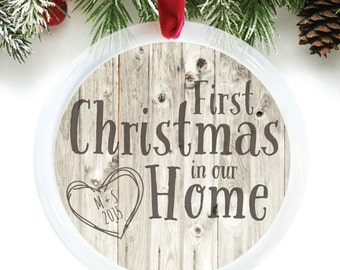 First Christmas in our Home Ornament, Housewarming Christmas Gift, wood ornament, customized holiday ornament // C-P72-OR ZZ2
