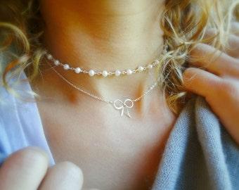 Pearl choker necklace, minimal freshwater pearl necklace, layering necklace, delicate choker, otis b, gold choker, adjustable