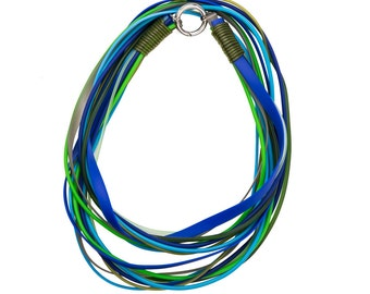 ocean colour summer necklace, rubber jewelry by Frank Ideas