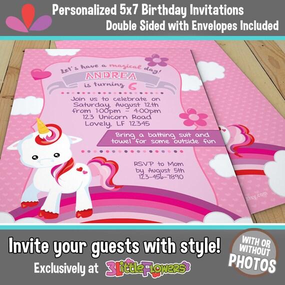 Baby Unicorn Birthday Invitations
