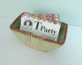 S. Ballard Stoneware Trinket Dish, Green Glaze with Brown Speckle, 1950s Pottery, Made in Vermont, Business Card Holder