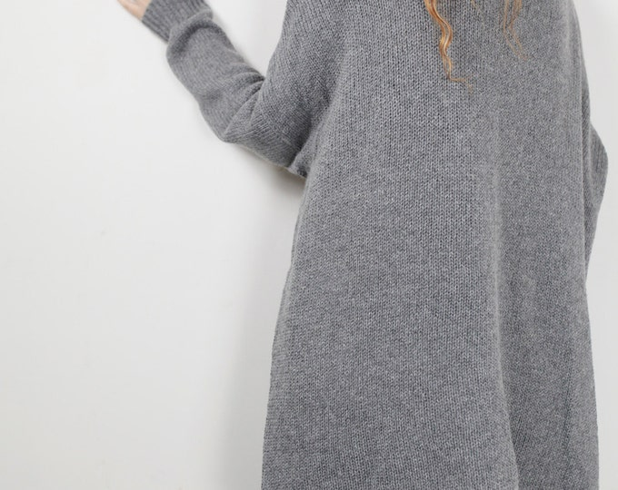OVERSIZED knit Woman sweater Grey pullover wool sweater