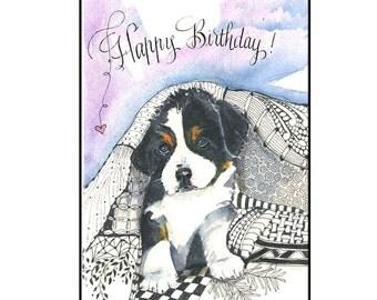 Cute Puppy Dog Birthday Card, Bernese Mountain Dog Card