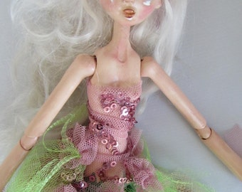 BUG FAIRY, Art doll, hand sculpted paper clay, ball jointed puppet, made in the USA